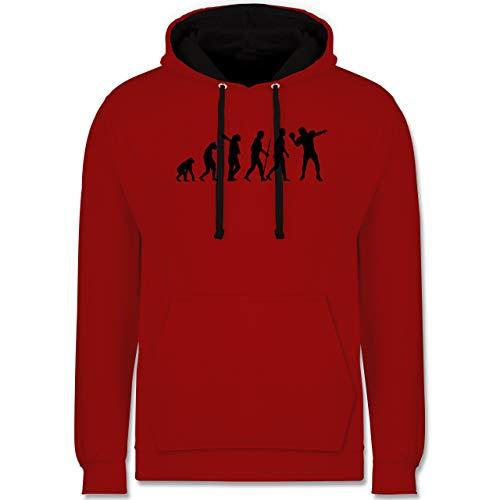 Shirtracer Evolution - Football Evolution QB - XXL - Rot/Schwarz - Football Hoodie rot - JH003 - Hoodie zweifarbig und Kapuzenpullover für Herren und Damen
