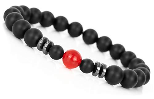 Mister Boncuk ® Chakra Perlenarmband aus Achat Natursteinen - Unisex Armbänder für Freizeit Yoga Meditation - Energie Heilstein Armbänder für Damen und Herren (Rote Jade)