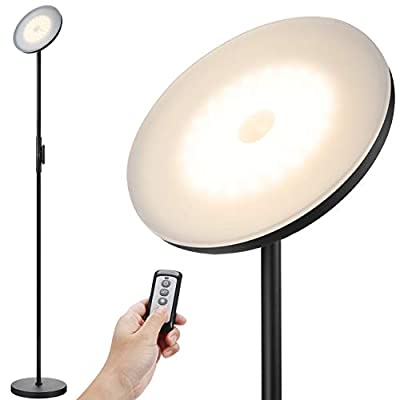 JOOFO Floor Lamp,30W/2400LM Sky LED Modern Torchiere 3 Color Temperatures Super Bright Floor Lamps-Tall Standing Pole Light with Remote & Touch Control for Living Room,Bed Room,Office
