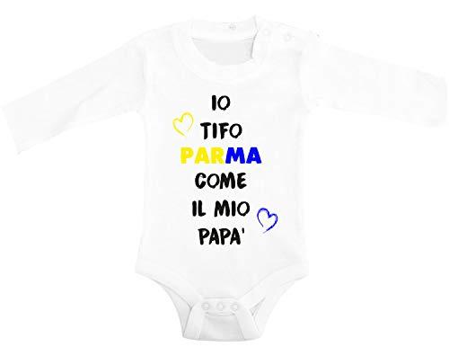 Puzzletee Body Neonato Manica Lunga Io tifo gialloblu Come Il Mio papà - Body da Neonato Manica Lunga - Calcio - Body Neonato Divertenti - Idea Regalo - Taglia 6-12 Mesi