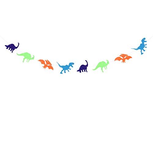 Amosfun Dinosaurio Fiesta de cumpleaños Banner Guirnalda Bandera niños Fiesta de cumpleaños Decoraciones Suministros Adornos