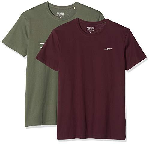 Esprit 010ee2n312 Camiseta, Verde (Khaki Green 350), Large (Pack de 2) para Hombre