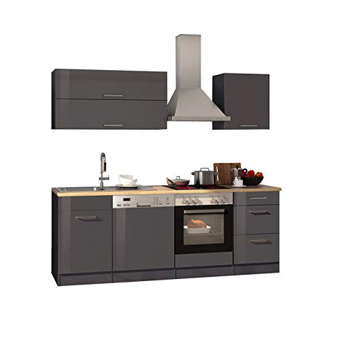 lifestyle4living - Bloque de Cocina con electrodomésticos (210 cm), Color Gris Brillante y Roble