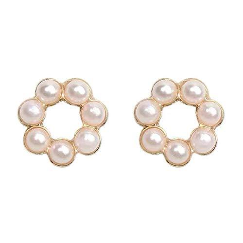 Hourongw Pendientes de plata con perlas de imitación y perlas y perlas de imitación