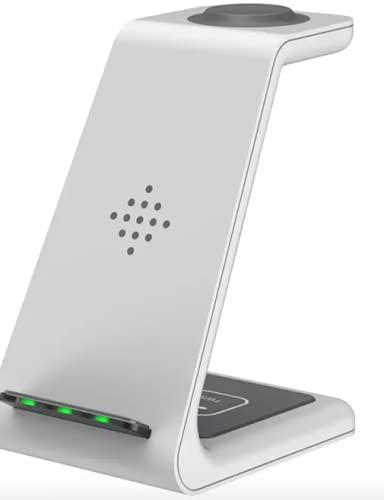 Dock Station sem fio (Wireless) para Apple iPhone 3 em 1 (Suporta outros acessórios - Smartwatch e Fones) com Cabo e Adaptador Turbo 3.0 - Branco