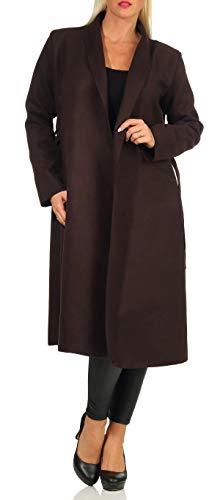 malito Damen Mantel lang mit Wasserfall-Schnitt   Trenchcoat mit Gürtel   weicher Dufflecoat   Parka - Jacke 3050 (dunkelbraun)
