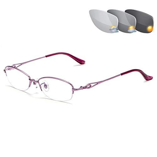 QAA Leesbril Progressivi Dames : Brillenglazen met lichtblokkering blauw, intelligente zoom multifocus, heldere glazen, zonnebril met wisselschakeling buitenkleur