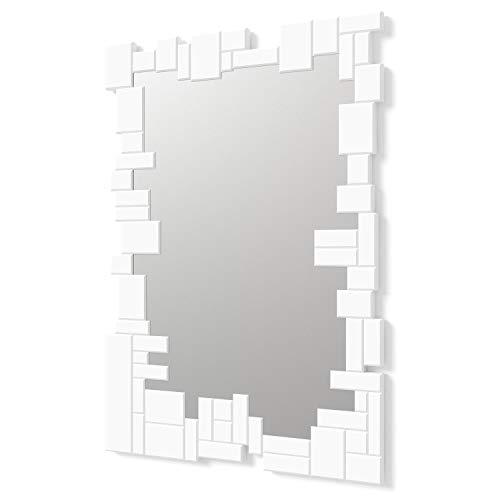 DekoArte E064 - Miroirs Muraux Décoratifs Modernes   Décoration De Miroirs pour Votre Salon, Chambre, Entrée, Couloir   Grands Miroirs Rectangulaires Sophistiqués Couleur Blanc   1 Pièce 100 x 70 cm