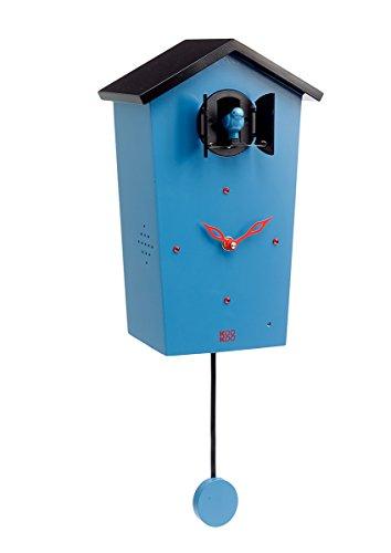 KOOKOO Birdhouse Blau, Moderne Kuckucksuhr, Design Wanduhr mit 12 Vogelstimmen oder Kuckuck, mit Pendel, Aufnahmen aus der Natur von Jean-Claude Roché