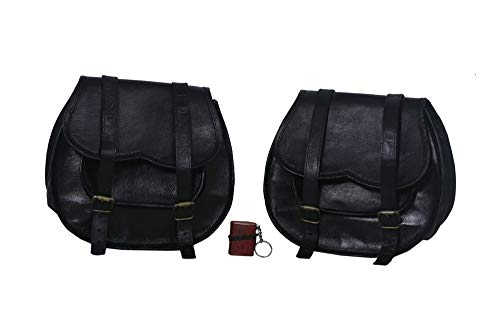 2 X Motorcycle Side Pouch BLACK Leather Side Pouch Saddlebags Saddle Panniers (2 Bags) Motorcycle Bicycle Bike