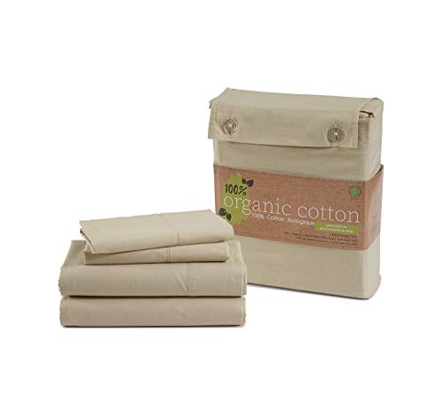 CASA PLATINO 100% Organic Cotton Sheets Set, Pure Organic...