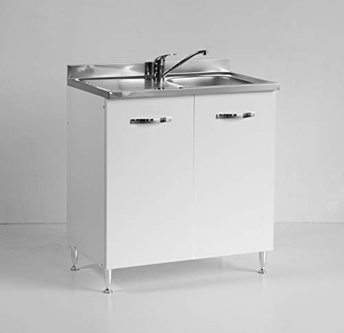 Mobile per Cucina sottolavello Bianco Due Ante Reversibile cm 80