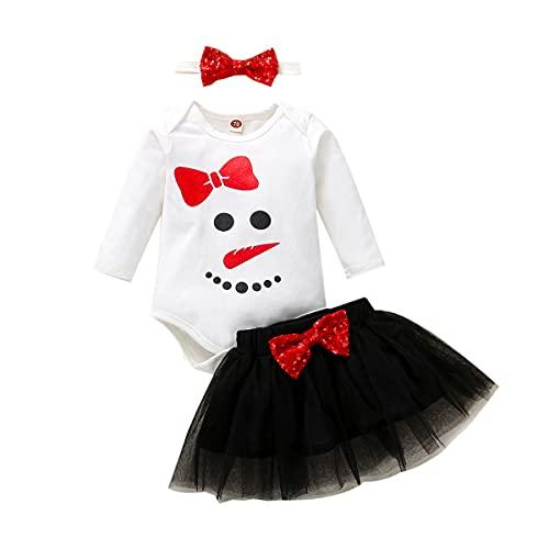 IBAKOM Vestido de Navidad para niñas con tutú de manga larga, para fiestas de cumpleaños, 3 unidades, Muñeco de nieve blanco, 1 mes