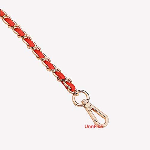 "UnnFiko 43"" DIY Chain Crossbody Strap, Handmade Handbag Chains Accessories Purse Straps Shoulder Cross Body Replacement Straps (Red & Gold, Metal Chain)"