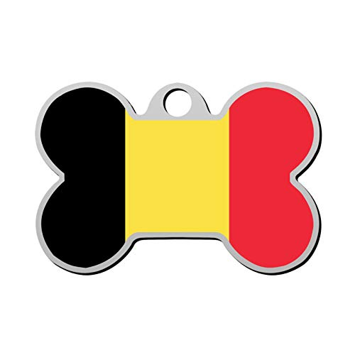 Lisa Cave Flag Belgium Dog and Cat Tag Pet ID Print Personalized Custom Name Zinc Alloy