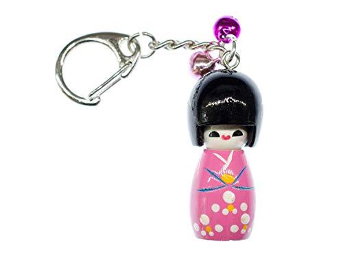 Miniblings Geisha Schlüsselanhänger Puppe Püppchen Holz Asien Doll pink Kokeshi - Handmade Modeschmuck I I Anhänger Schlüsselring Schlüsselband Keyring