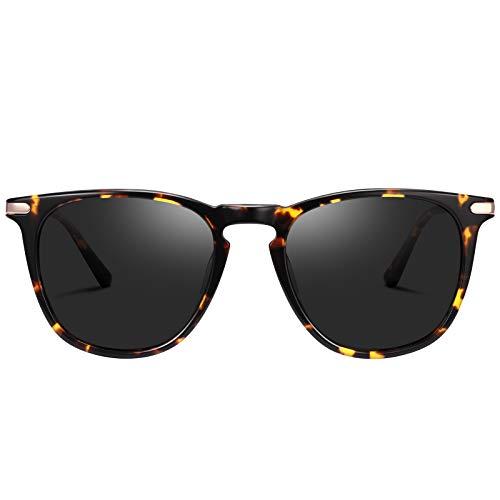 TSEBAN Vintage Damen Sonnenbrille Polarisierte Frauen Brille, Acetat-Rahmen & UV 400 Schutz,Schildpatt,Einheitsgröße