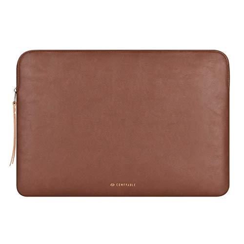 Comfyable Tablet Tasche Leder Sleeve Kompatibel mit iPad Pro 12.9 Zoll M1 2021 2020 und Smart/Magic Keyboard mit Stifthalter, PU Leder Hülle, Wasserdicht, Schlanke Schutzhülle, Braun