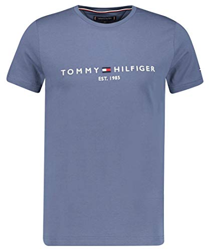 Tommy Hilfiger Tommy Logo tee Camiseta Deporte, Faded Indigo, Large para Hombre