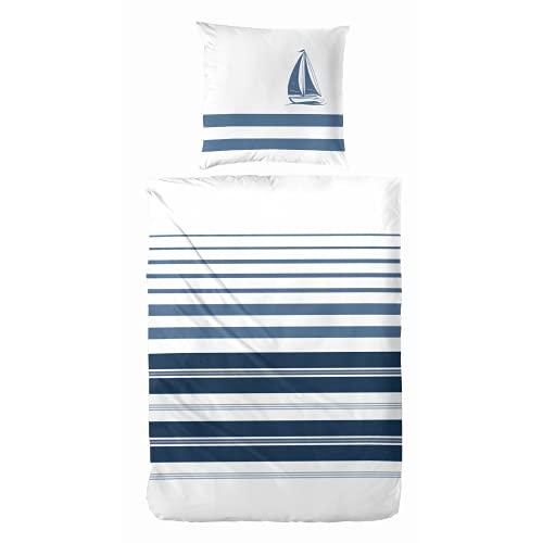Aminata BALANCE Ropa de cama de 135 x 200 cm, diseño marítimo de bloques, rayas marítimas y veraniegas, color azul, blanco y algodón, con cremallera