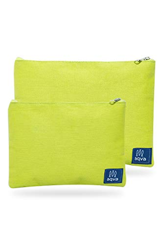 AQVA Pack of 2 Cotton Canvas Multipurpose Cosmetic Organizer Bag With Zipper - Water Resistant Travel Toiletry Pouch, DIY Craft Bag - Perfect for Stationary, Outdoor Activity (Large, Lime)