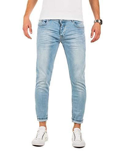 PITTMAN Herren Jeans Skinny Fit M433 - Jeans Zerrissen Herren - Blaue Used Look Hose eng Männer Stretchjeans, Blau (Blue Denim), W31/L32