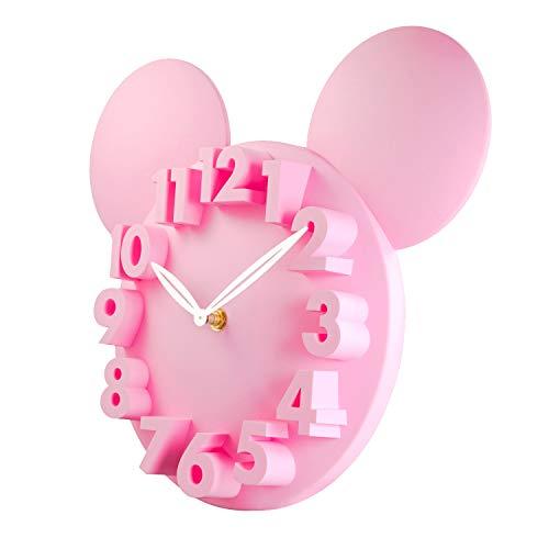ufengke Rosa 3D Maus Wanduhr Kinder Lustige Quarzuhr Deko für Kinderzimmer Wohnzimmer 32 x 28 x 5 cm