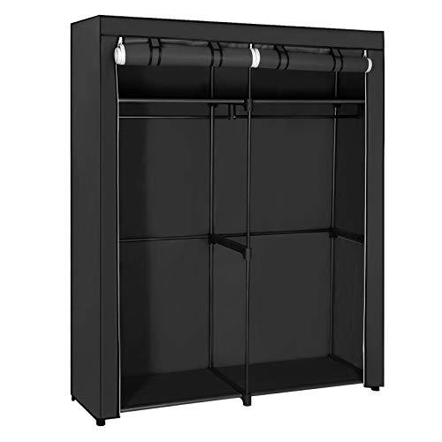 SONGMICS Garderobe, garderobe met 2 kledingrails, opbergruimte voor kleding, linnenkast, kapstok, opvouwbaar, kleedkamer, slaapkamer, 140 x 43 x 174 cm, zwart RYG02BK