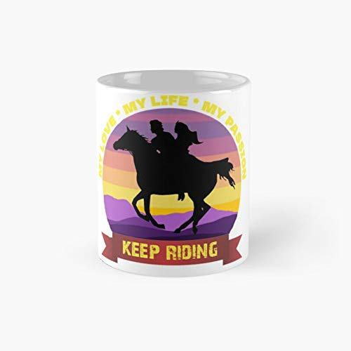 Taza clásica con texto en inglés 'My Love Life and Passion Horse Riding (My Love Life and Passion Horse Riding)