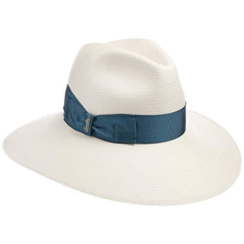 Borsalino Tamira Fine Panamahut Strohhut Sonnenhut Sommerhut Damenhut Damen - Made in Italy mit Ripsband Frühling-Sommer - One Size Natur-blau