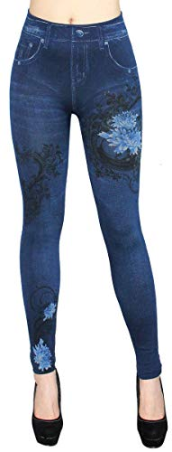 dy_mode Thermo Leggings Damen Thermohose mit Innenfutter - WL093 (36/38 - S/M, WL013-Blau)