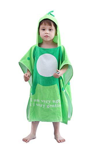 ベビー バスローブ ベビータオル キッズ バスタオル 子供用 恐竜フード付き 可愛い ポンチョ 綿100% 男女兼用 肌触り抜群(130−緑)