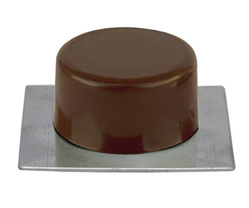 Sysfix Tope de Puerta Adhesivo marrón con Base Inoxidable (Caja de 10 Unidades), 4.5x4.5x1.8 cm