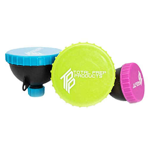 Total Prep Products Portable Protein Funnel BPA Free Non Toxic 3 Pack Multiple Colors
