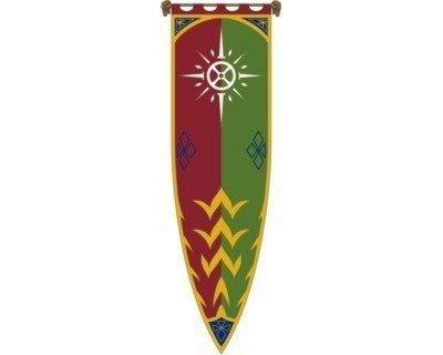 Lizensprodukt: Herr der Ringe Banner Fahne Rohan III - 58x200 cm - mit kompletter Aufhängevorrichtung