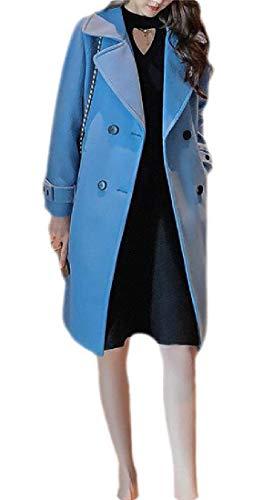 Sweetmini Abrigo para Mujer de Mezcla de Lana con Doble Pecho, Estilo Marinero Azul Azul M