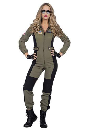 Wilbers & Wilbers Damen Kostüm Jet Pilotin Overall grün Karneval Fasching Gr. 44