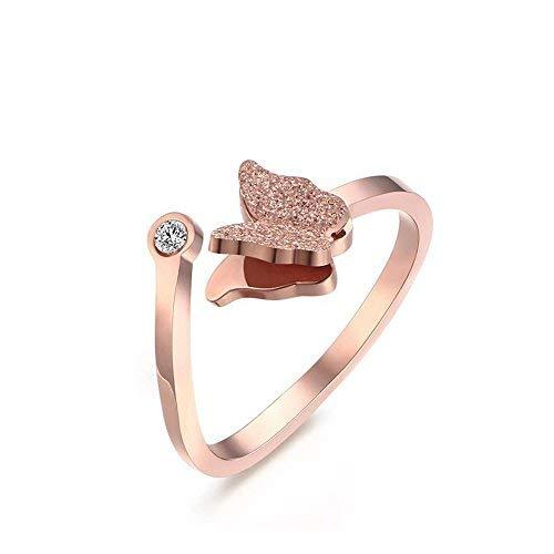 HooAMI Schmetterling Ring Edelstahl Ring für Damen Geschenk Ring Rosegold