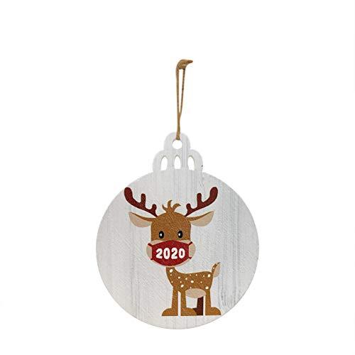 30 Piezas 2020 Adorno navideño de Papá Noel con una mascarilla Decorar árbol de Navidad hogar y jardín...