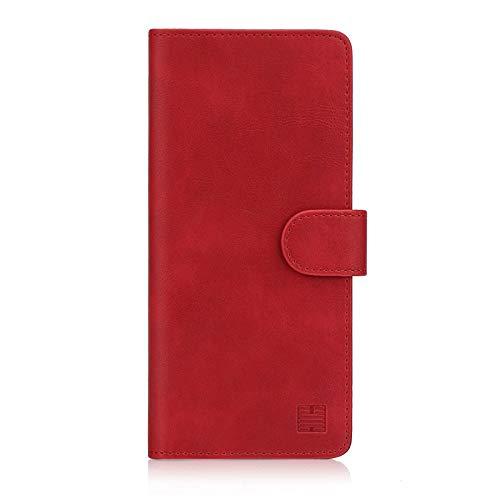 32nd Essential Series - PU Leder Mappen Hülle Flip Case Cover für Sony Xperia 10 (2019), Ledertasche hüllen mit Magnetverschluss & Kartensteckplatz – Rot