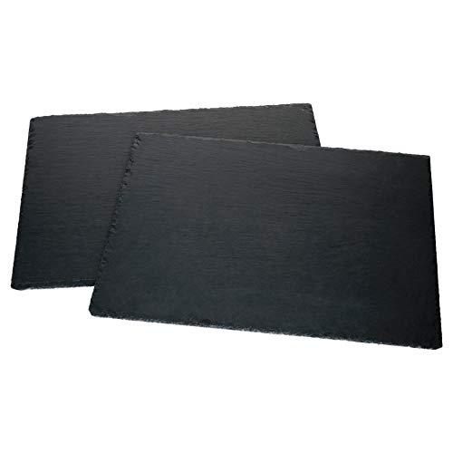 MamboCat Schieferplatte 2er Set 40 x 30 cm I Servierplatten Schwarz I Sushi Platte mit rustikaler Bruchkante I Cheese Board Vorspeisenteller auch als Untersetzer Teller I Dekoplatte Granit