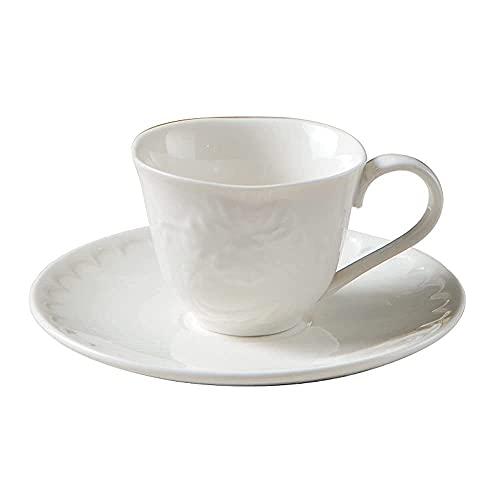 FHISD Taza de café y platillo Juego de Tazas de té Rojo de la Tarde de cerámica 80ml Latte Espresso Garland Cup Colgante de café para la Oreja Adecuado para el café de la Oficina en casa