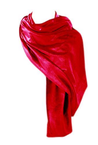 BRANDELIA Estola terciopelo mujer chal fiesta boda bautizo accesorio ropa de vestir, rojo