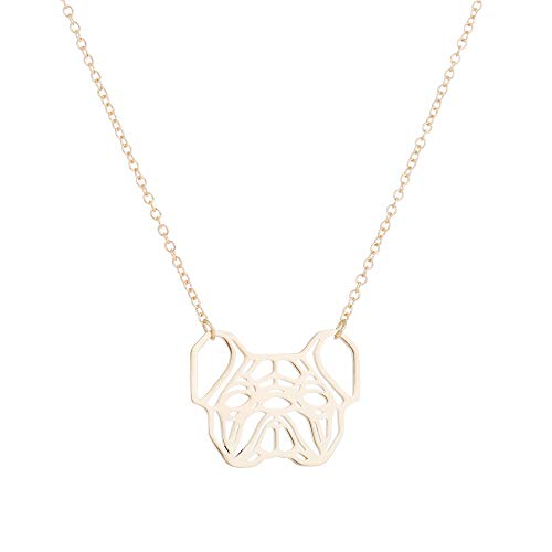 Daisies French Bulldog Necklace Geometric Origami Dog Unique Pendants Necklaces Women Animal Jewelry (gold)