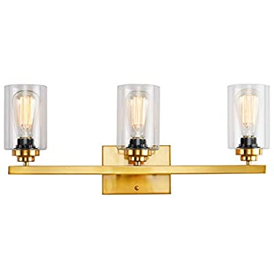 Wall Sconce 3 Lights Vanity Lighting Fixture for Bathroom Industrial Vintage Light with Clear Glasses, Brass
