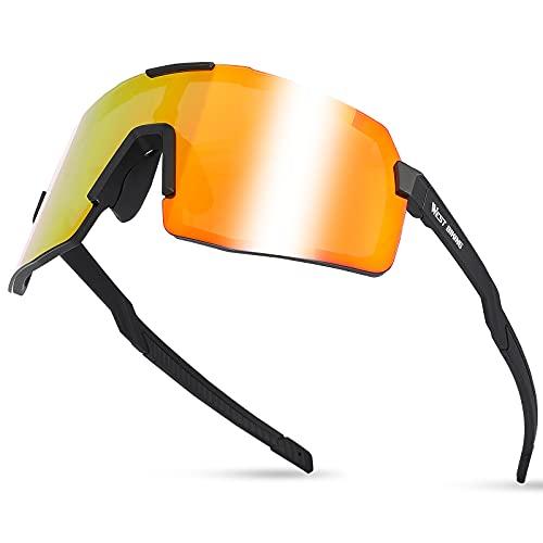 Fahrradbrille Damen Herren, Sportbrillen UV 400 Schutz, HD Polarisierte Sportsonnenbrille, Fahrradbrille Selbsttönend mit Myopie-Rahmen, MTB Brille Schutzbrille Arbeitsschutzbrille für Radfahren Skie
