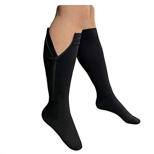 Presadee Closed Toe Big Tall 20-30mmHg Premium Zipper Compression Wide Calf Sock (Black, 5XL)