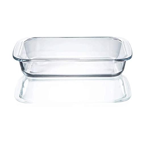 LJM Platos para Hornear de Vidrio Transparente Utensilios rectangulares para Hornear de Vidrio para Horno cazuela Horno microondas Bandejas para Hornear Resistentes al Calor Utensilios de co