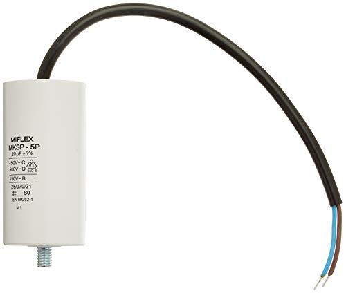 AnlaufKondensator MotorKondensator 20µF 450V 40x78mm Leitung M8 ; Miflex ; 20uF