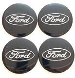 HAZYLA 4 Piezas 56.5 MM Car Tapas Centrales Llantas para Ford,Tapacubos Decoración con Forma de Coche Resistente al Agua y al óxido con Logotipo de Placa